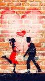 Graffiti of two innamorate Стоковое фото RF