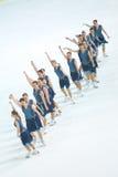 Грациозности команды катаясь на коньках в линии Стоковые Изображения RF