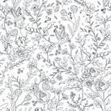 Грациозно безшовная страница расцветки цветочного узора иллюстрация вектора