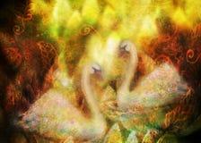 Грациозно лебеди в влюбленности плавая совместно, коллаж иллюстрации бесплатная иллюстрация