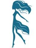 Грациозно девушка с развевая волосами в движении иллюстрация штока