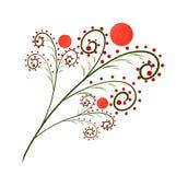 Грациозно зеленая хворостина с красными плодоовощами иллюстрация штока