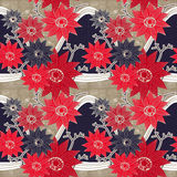 Грациозно красные и голубые цветки иллюстрация вектора