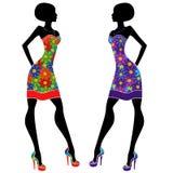 Грациозно платья молодых дам вкратце иллюстрация вектора