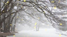 Грациозно сгабривая деревья зимы с снегом бесплатная иллюстрация