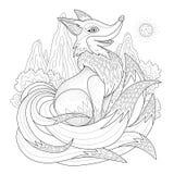 Грациозно страница расцветки лисы иллюстрация штока