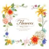 Грациозно флористический дизайн рамки иллюстрация штока