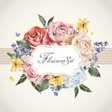 Грациозно флористический шаблон карточки иллюстрация штока