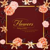 Грациозно флористическое приглашение свадьбы иллюстрация вектора