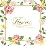 Грациозно флористическое приглашение свадьбы иллюстрация штока