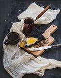 градиенты завтрака произведения искысства editable не наслаивают никакой используемый комплект Coffe, здравицы черноты с сливк Стоковая Фотография RF