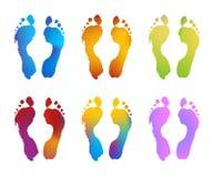 градиент следов ноги цвета Стоковое Фото