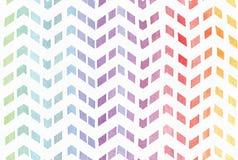 Градиент splattered предпосылка радуги в картине зигзага, руке нарисованной с чернилами акварели Безшовная покрашенная картина, х Стоковые Фотографии RF