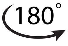180 градусов значка на белой предпосылке 180 градусов символа Стоковое Изображение