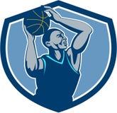 Гребень шарика баскетболиста отскакивая ретро иллюстрация штока