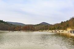 Гребля людей на озере Sukko с Taksodium 2-гребла, или кипариса болота lat Distichum и прогулка Taxodium вдоль берега внутри Стоковые Фото
