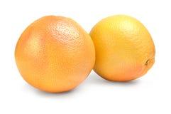 2 грейпфрута - изолированного на белой предпосылке Стоковая Фотография