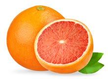 грейпфрут изолировал Розовые грейпфруты изолированные на белой предпосылке, с путем клиппирования Стоковое Изображение