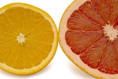 Грейпфрут и померанцы на белой предпосылке Стоковая Фотография RF