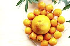 Грейпфрут и tangerines на стеклянной пластинке Стоковое Фото