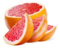 Грейпфрут Половина и куски изолированные на белой предпосылке Стоковое фото RF