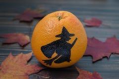 Грейпфрут с покрашенным силуэтом ведьмы Стоковое Изображение RF