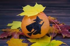 Грейпфрут с покрашенным силуэтом ведьмы Стоковые Изображения RF