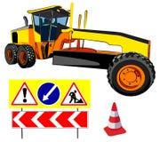 Грейдер и дорожные знаки, иллюстрация вектора Стоковое фото RF