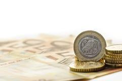 грек одно евро монетки Стоковые Изображения RF