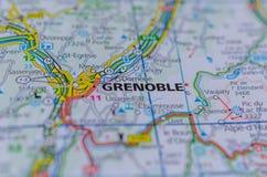 Гренобль на карте Стоковое Фото