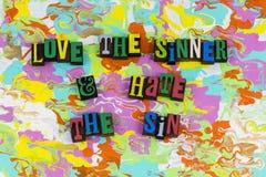 Грех ненависти грешника влюбленности стоковое фото