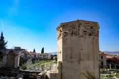 ГРЕЦИЯ, АФИНЫ - 25-ОЕ МАРТА 2017: Башня ветров стоковая фотография rf