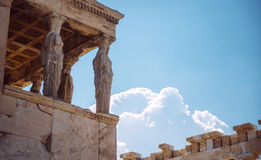 Греция, Афины, старое крылечко Caryatides Стоковые Изображения