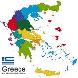 Греция и административные округа иллюстрация вектора