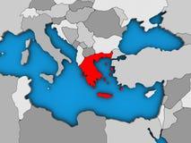 Греция на карте 3D иллюстрация штока
