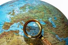 Греция на русском глобусе Стоковое Фото