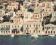 Греция Остров Symi В фильтрованном стиле instagram стоковое фото rf