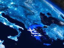 Греция с врезанным флагом от космоса Стоковое фото RF