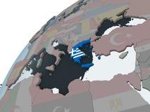 Греция с флагом на глобусе иллюстрация вектора