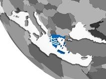 Греция с флагом на глобусе иллюстрация штока