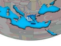 Греция с флагом на глобусе бесплатная иллюстрация