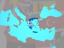 Греция с флагом на карте иллюстрация вектора