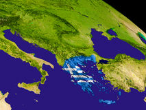 Греция с флагом на земле Стоковая Фотография