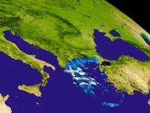 Греция с флагом на земле Стоковое Изображение