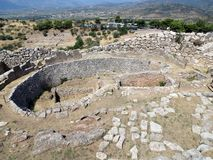 Греция, Mycenae, взгляд сверху центра поселения стоковое изображение rf