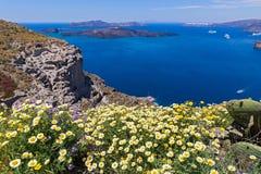 Греция, Santorini, взгляд залива Стоковая Фотография