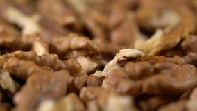 Грецкие орехи в вращении, закуска здорового питания высокая в витаминах, варя ингридиент акции видеоматериалы