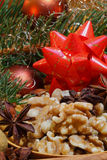 Грецкие орехи и анисовка звезды Стоковое Фото