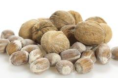 Грецкие орехи и гайки на белизне Стоковое Изображение