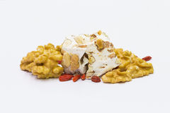 Грецкие орехи и wolfberries нуги стоковое фото rf